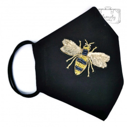 BLACK COTTON PROTECTIVE MASK WITH SILVER-GOLD BEE 2
